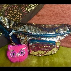 Pale Gold Reversible Sequin Fanny Pack